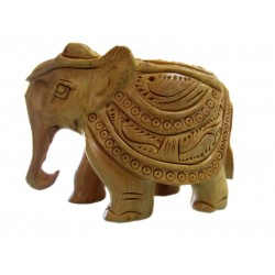 Wooden Elephant Carving 2.5 Inch Fine Finishing