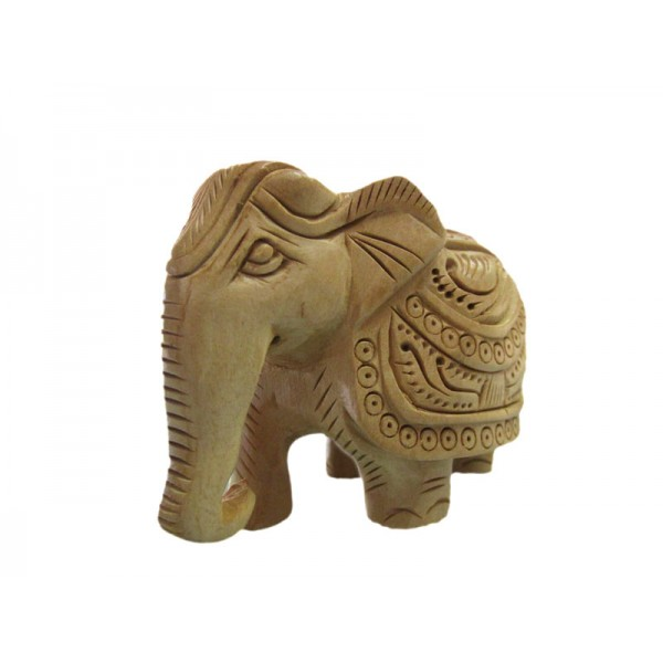Wooden Elephant Carving 2 Inch Fine Finishing