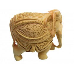 Wooden Elephant Carving With Teeth